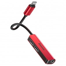 Baseus 3-in-1 iP Male to Dual iP & 3.5mm Female Adapter L52 Red-black