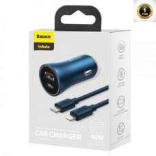 Baseus Golden Contactor Pro Dual Quick Charger Car Charger U+C 40W(With Baseus Simple Wisdom Data Cable Type-C to iP 1m)Blue