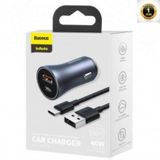 Baseus Golden Contactor Pro Dual Quick Charger Car Charger U+C 40W(With Baseus Simple wiring USB For Type-C 5A 1.0m)Dark Gray