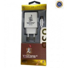 Teutons Wall Adapter with Type-C Data Cable Quick Charge 3.0 White