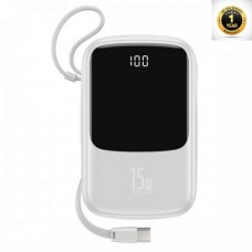 Baseus Q pow Digital Display 3A Power Bank 10000mAh (With Type-C Cable)White