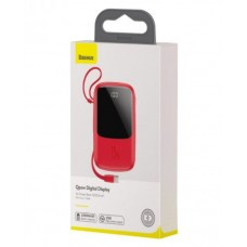 Baseus Q pow Digital Display 3A Power Bank 10000mAh (With Type-C Cable)Red