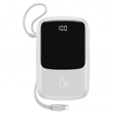Baseus Q pow Digital Display 3A Power Bank 10000mAh (With IP Cable)White