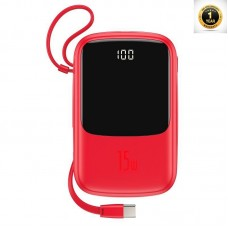 Baseus Q pow Digital Display 3A Power Bank 10000mAh (With IP Cable)Red