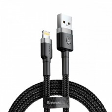 Baseus 1m - 2.4A Cafule USB Type-A 2.0 to Lightning Cable - Black & Grey (CALKLF-BG1)