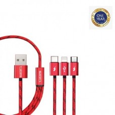 Teutons 3.1 USB Data Cable Red 1.2m (iOS+Android+Type C)