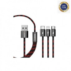 Teutons 3.1 USB Data Cable Black 1.2m (iOS+Android+Type C)